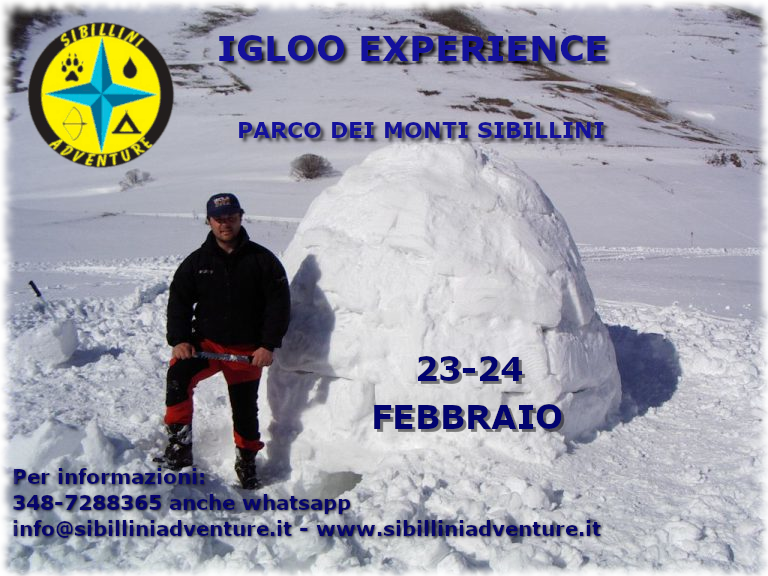 Locandina dell'igloo experience sui Monti  Sibillini.